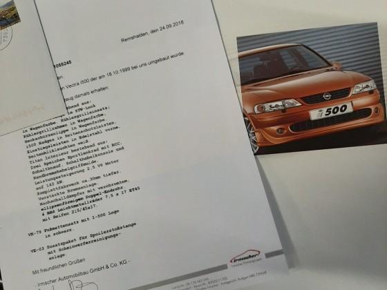 schriftl. Bestätigung von Irmscher/ Remshalden, Prospekt